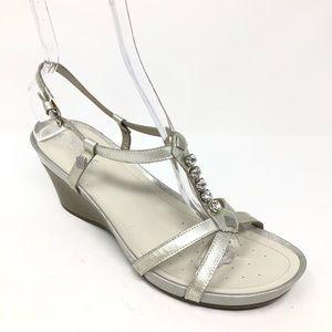 Geox Respira Rhinestone Silver Sandal 10 40